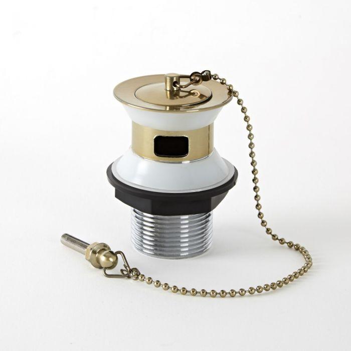 Tappo con Catenella Tradizionale per Lavabo Effetto Oro Spazzolato - Alice