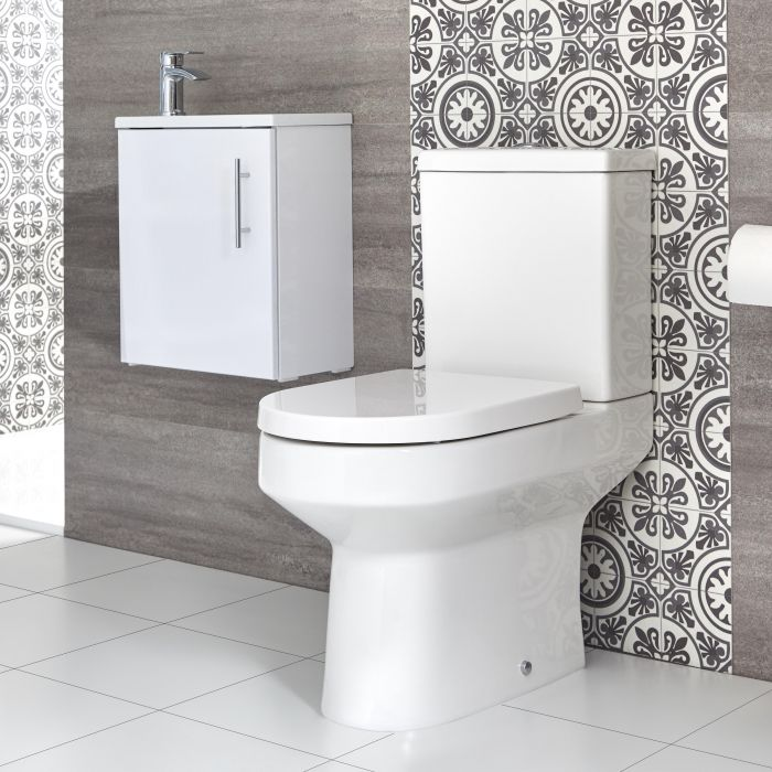 Sanitario WC Monoblocco e Mobile Bagno Sospeso con Lavabo Snello 400mm Covelly - Diverse Finiture Disponibili