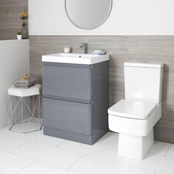 Set Bagno Completo di Sanitario WC Monoblocco e Mobile Grigio 600mm - Daxon