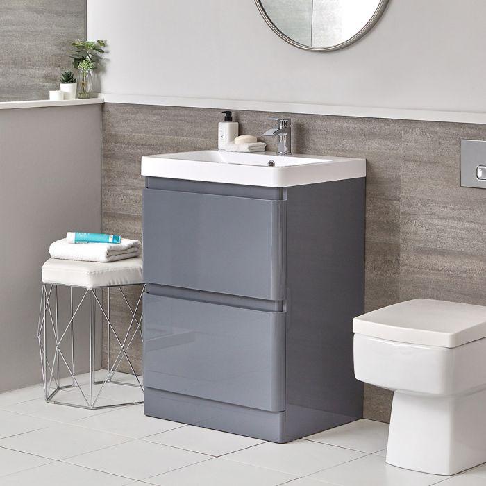 Set Bagno Completo di Sanitario WC Filo Parete e Mobile Grigio 600mm - Daxon
