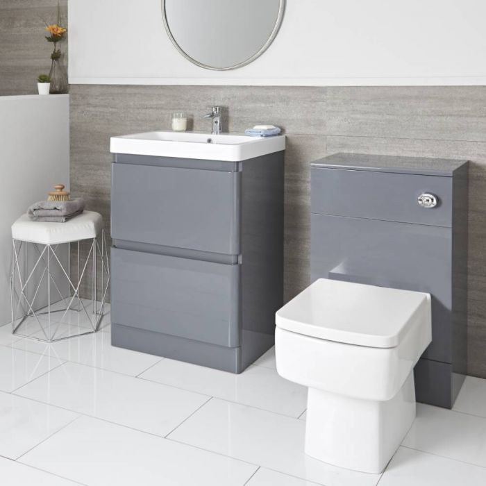 Set Bagno Completo di Mobile Grigio 600mm e Mobile WC - Daxon