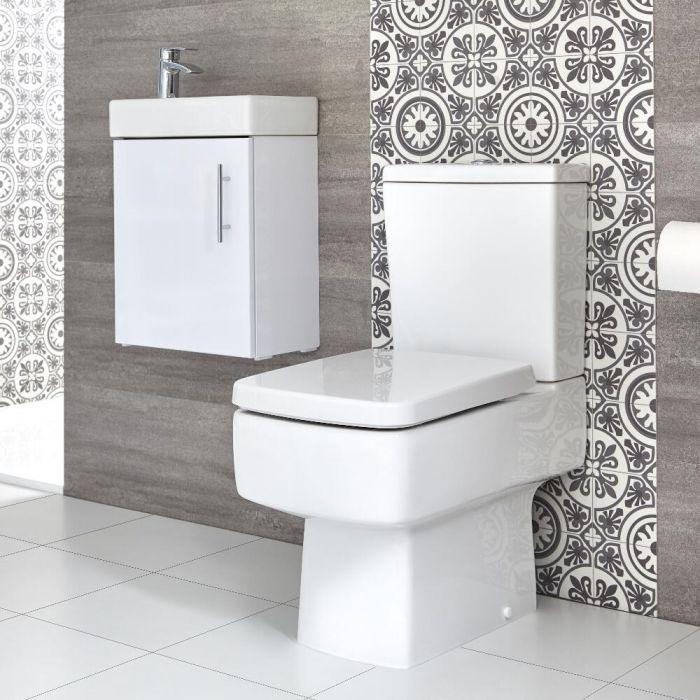 Sanitario WC Monoblocco e Mobile Bagno Sospeso con Lavabo 400mm Exton - Diverse Finiture Disponibili