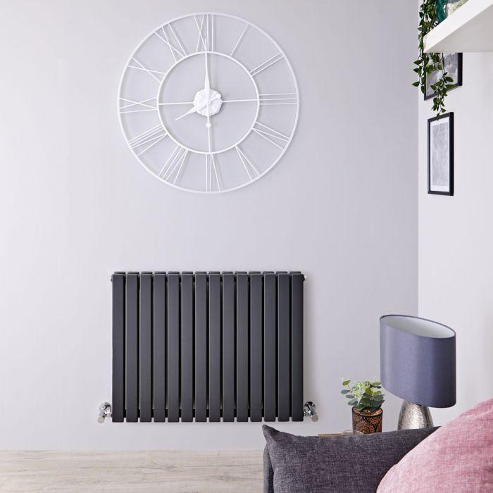 Radiatore di Design Orizzontale Doppio - Antracite - 635mm x 834mm x 71mm - 1307 Watt - Sloane