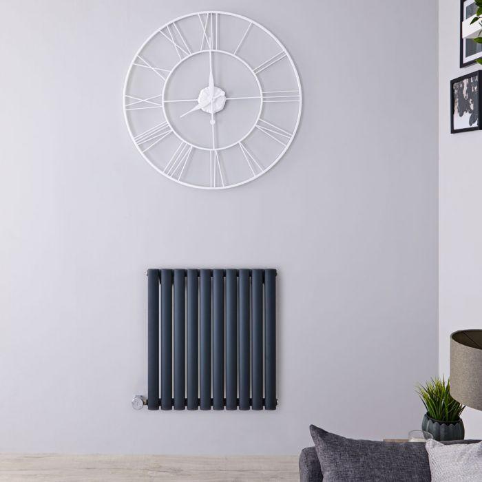 Radiatore di Design Elettrico Orizzontale - Antracite - 635mm x 595mm x 55mm  - Elemento Termostatico  800W  - Revive
