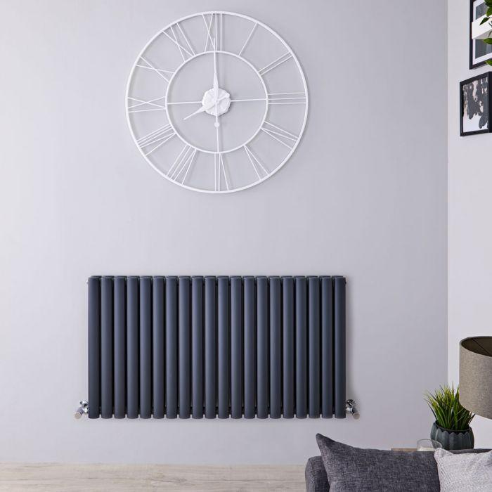 Radiatore di Design Orizzontale Doppio - Antracite - 635mm x 1180mm x 78mm - 1863 Watt - Revive