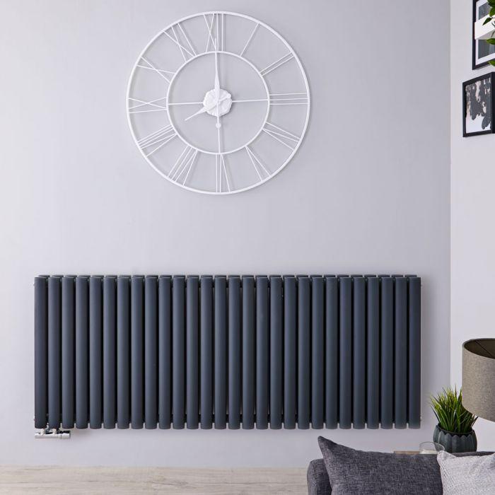 Radiatore di Design Orizzontale Doppio con Attacco Centrale - Antracite - 635mm x 1647mm x 78mm - 2614 Watt - Revive Caldae