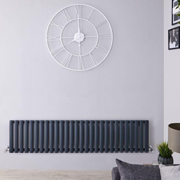 Radiatore di Design Orizzontale Doppio - Antracite - 400mm x 1647mm x 56mm - 1138 Watt – Revive