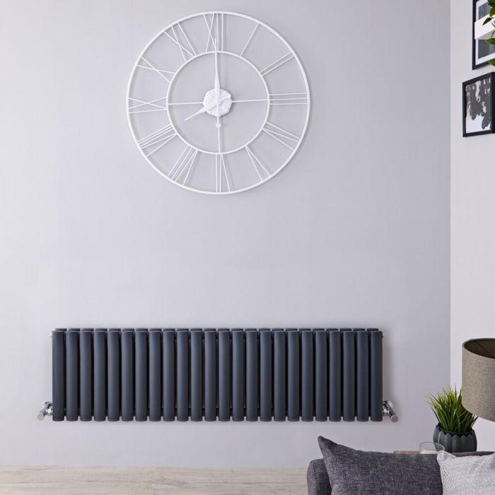 Radiatore di Design Orizzontale Doppio - Antracite - 400mm x 1411mm x 78mm - 1485 Watt – Revive