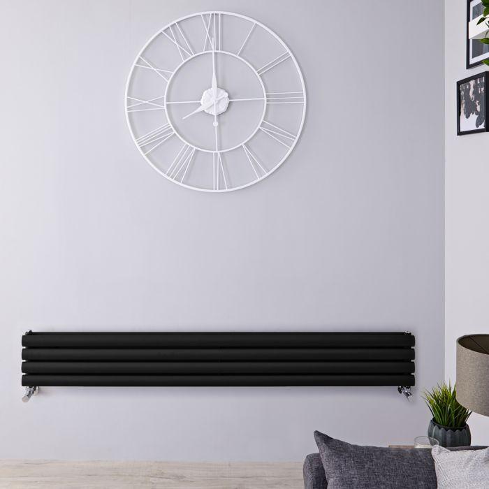 Radiatore di Design Orizzontale Doppio - Nero Lucido - 236mm x 1600mm x 78mm - 815 Watt - Revive