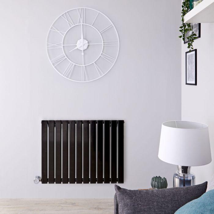 Radiatore di Design Elettrico Orizzontale - Nero Lucido - 635mm x 840mm x 46mm - Elemento Termostatico 800W - Delta