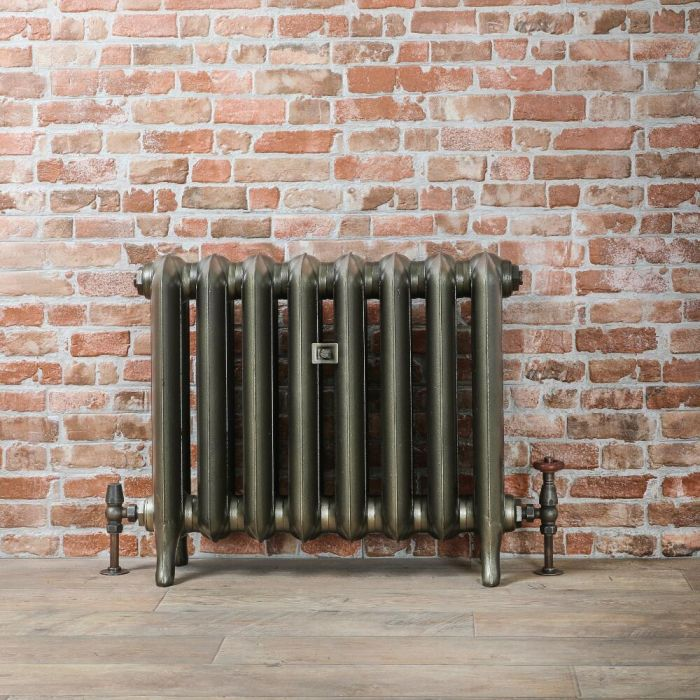 Radiatore Tradizionale in Ghisa 560mm - Colonne Ovali - Ottone Antico - Erté - Disponibile in Diverse Misure