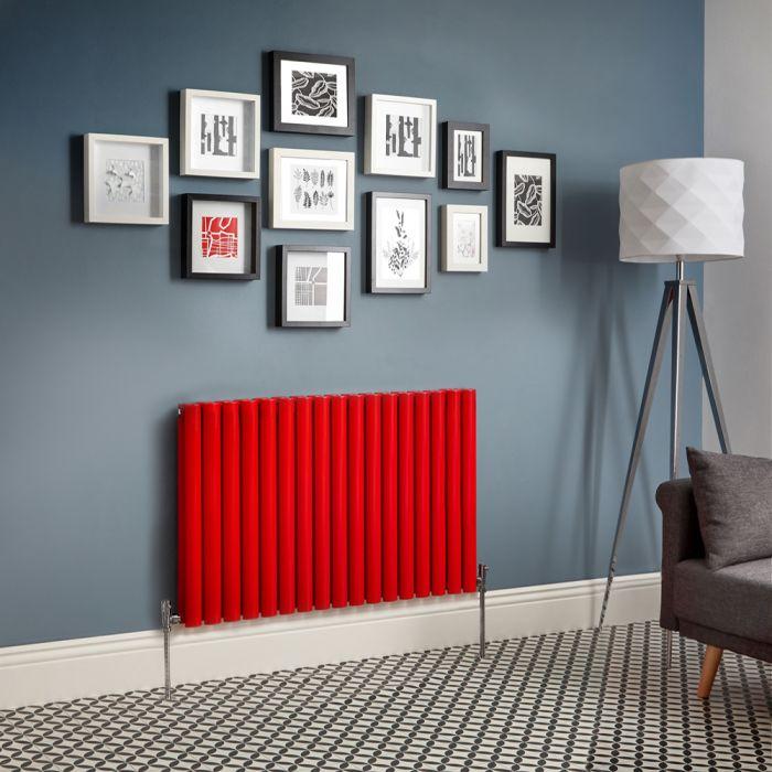 Radiatore di Design Orizzontale Doppio - Rosso  - Revive - Disponibile in Diverse Misure