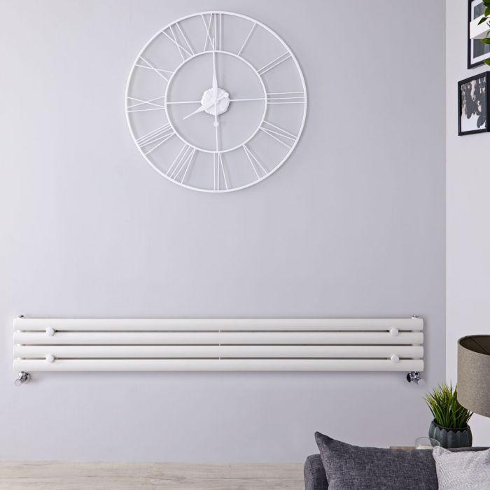 Radiatore di Design Orizzontale  - Bianco - 236mm x 1600mm x 78mm - 518 Watt - Revive