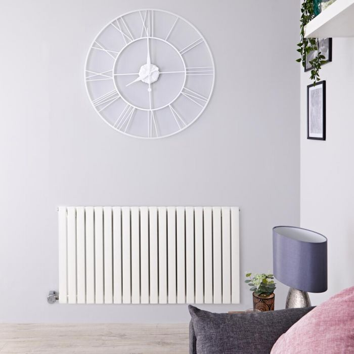 Radiatore di Design Elettrico Orizzontale - Bianco - 635mm x 826mm x 54mm  - Elemento Termostatico 1000W  - Sloane