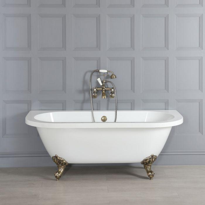 Vasca da Bagno Tradizionale Bianca Murale Centro Stanza e Piedini Oro Spazzolato – 1685mm x 780mm – Richmond