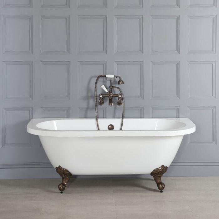 Vasca da Bagno Tradizionale Bianca Murale Centro Stanza e Piedini Bronzo Lucidato ad Olio – 1685mm x 780mm – Richmond
