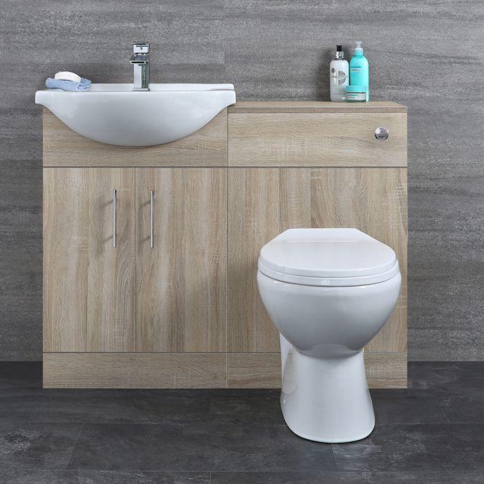 Mobile Bagno Colore Noce con Lavabo e Sanitario Integrato 1032x835x820mm -  Classic Oak