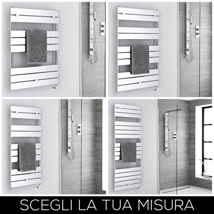 Scaldasalviette Elettrico di Design Cromato Lustro - Disponibile in Diverse Misure