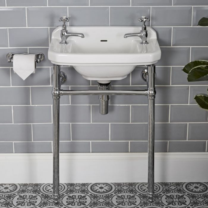 Consolle con Lavabo in Ceramica Bianca 515mm e Struttura Tradizionale in Ottone Cromato  - Richmond