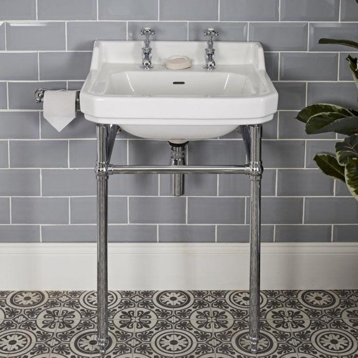 Consolle con Lavabo in Ceramica Bianca e Struttura Tradizionale in Acciaio Inossidabile 560mm - Richmond