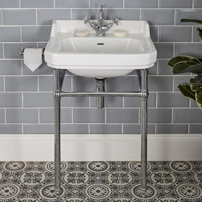 Consolle con Lavabo in Ceramica Bianca e Struttura Tradizionale in Acciaio Inossidabile 560x885mm - Richmond