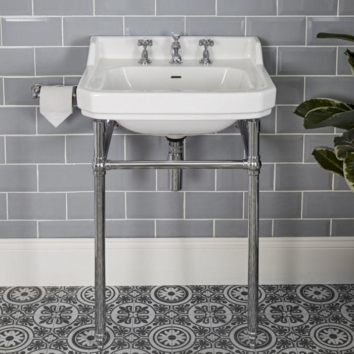 Consolle con Lavabo in Ceramica Bianca a 3  Fori e Struttura Tradizionale in Acciaio Inossidabile 560mm - Richmond