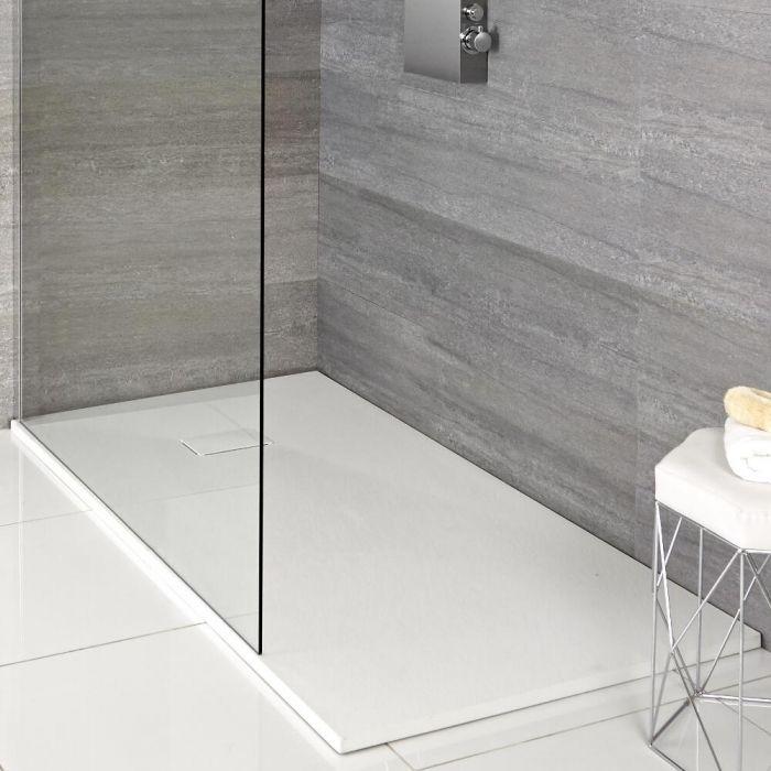 Piatto Doccia Effetto Pietra Colore Bianco Opaco Rockwell - Disponibile in Diverse Misure e con Kit di Elevazione