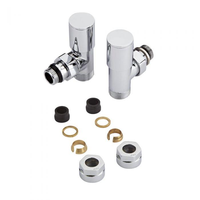 Coppia di Valvole per Radiatori e Scaldasalviette con Adattatori per Tubi in Rame 15mm