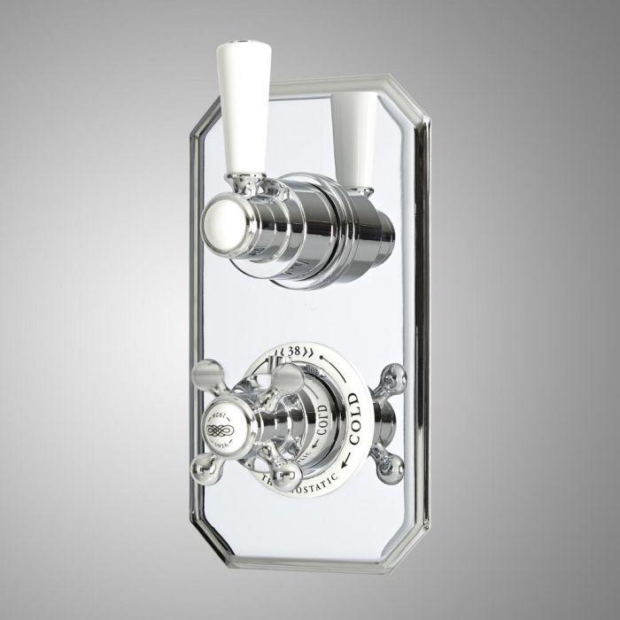 Miscelatore Termostatico Doccia Tradizionale da Incasso a Due Vie con Deviatore - Cromato e Bianco - Elizabeth