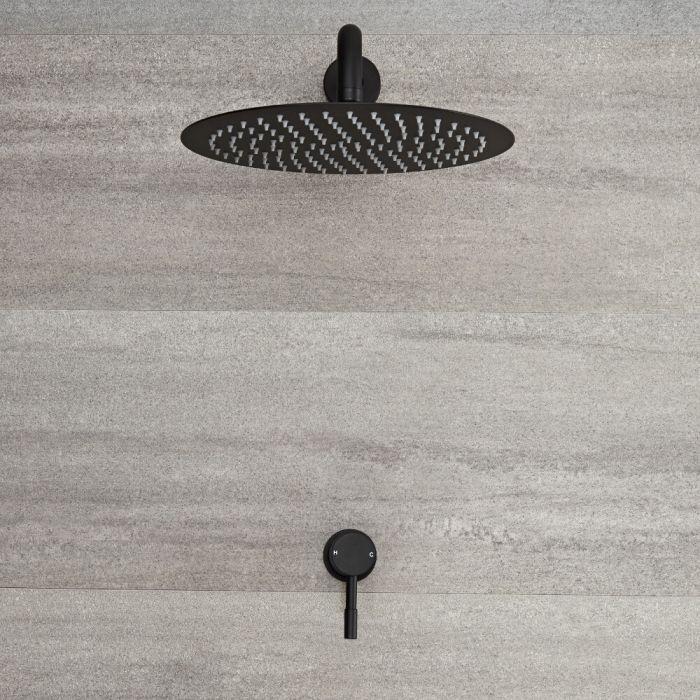 Miscelatore Doccia Manuale ad Incasso Nero ad 1 Via Completo di Soffione Doccia Circolare 300mm e Braccio Doccia - Nox