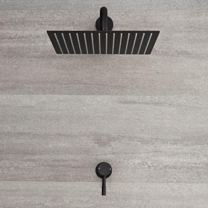 Miscelatore Doccia Manuale ad Incasso Nero Completo di Soffione Doccia Quadrato 300x300mm e Braccio Doccia - Nox