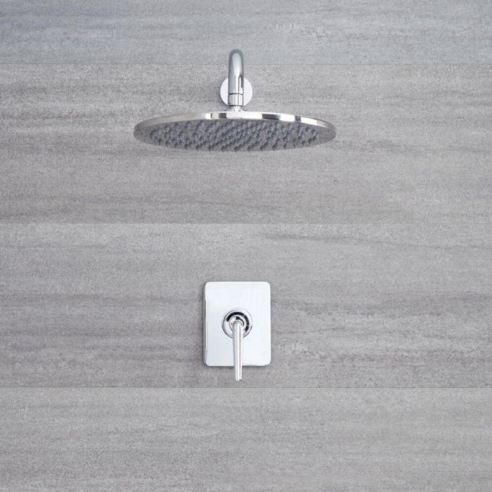 Kit Doccia Manuale Incasso Cromato ad 1 Via Completo di Soffione Doccia Circolare 300mm e Braccio Doccia - Ora
