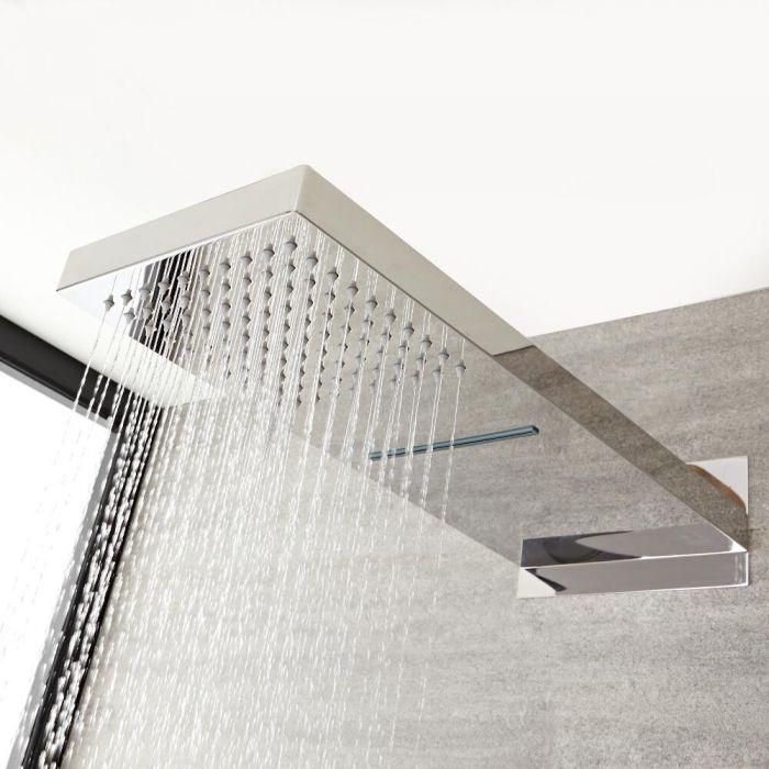 Soffione Doccia Rettangolare con Funzione a Cascata e Pioggia 500mm x 200mm