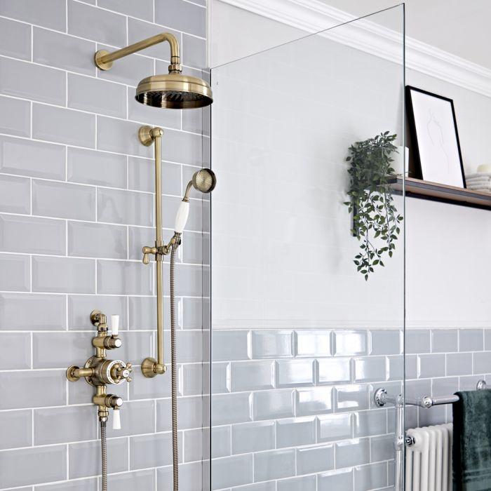 Set doccia Tradizionale con Miscelatore Termostatico Esterno, Soffione Doccia da 200mm e Asta Saliscendi - Oro Spazzolato - Elizabeth