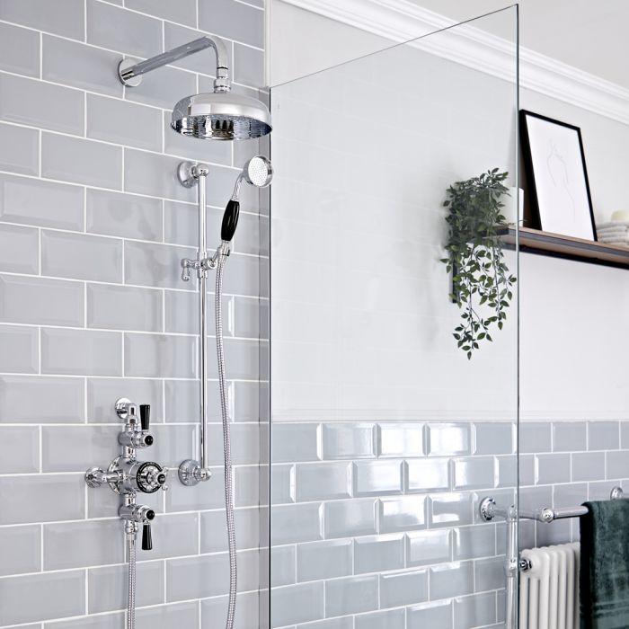 Set doccia Tradizionale con Miscelatore Termostatico Esterno, Soffione doccia da 200mm e Asta Saliscendi - Cromato e Nero - Elizabeth