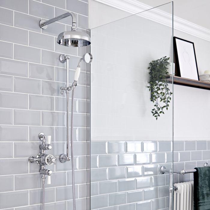Kit doccia Tradizionale con Miscelatore Termostatico Esterno, Soffione doccia da 200mm e Asta Saliscendi - Cromato e Bianco - Elizabeth