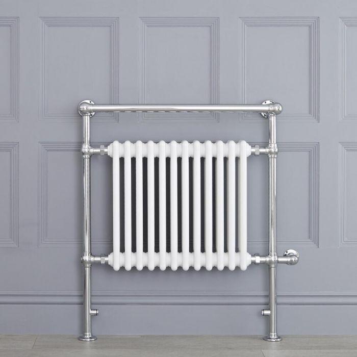 Radiatore Scaldasalviette Elettrico Tradizionale - Elemento Elettrico 800 Watt - Bianco - 930mm x 790mm (Barra Porta Salviette Superiore) - Elizabeth