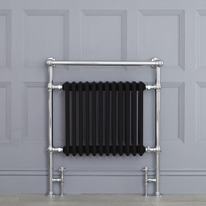Radiatore Scaldasalviette Tradizionale Nero - 930mm x 790mm (Barra Porta Salviette Angolare) - Elizabeth