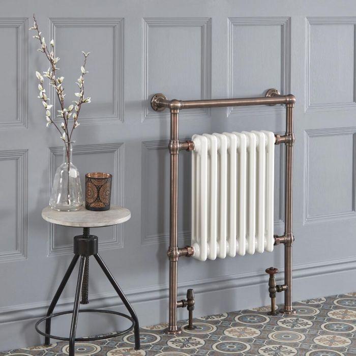 Scaldasalviette Tradizionale di Design con Barra Porta-Salviette - Effetto Bronzo Lucidato ad Olio - 930 x 620mm - 669 Watt - Elizabeth