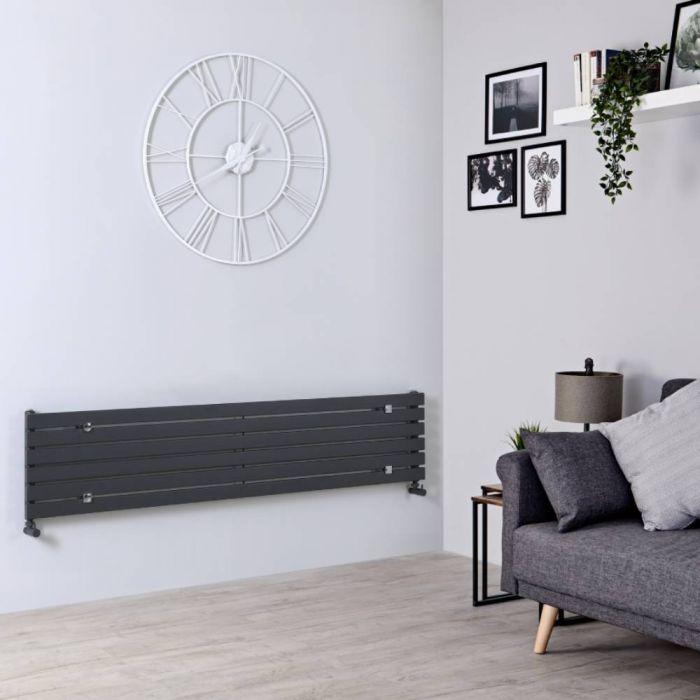Radiatore di Design Orizzontale  - Antracite - 354mm x 1780mm x 54mm - 821 Watt - Sloane