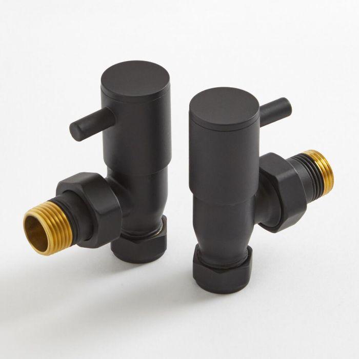 Paio di Valvole a Squadra Colore Nero per Radiatori e Scaldasalviette per Tubi in Rame 15mm