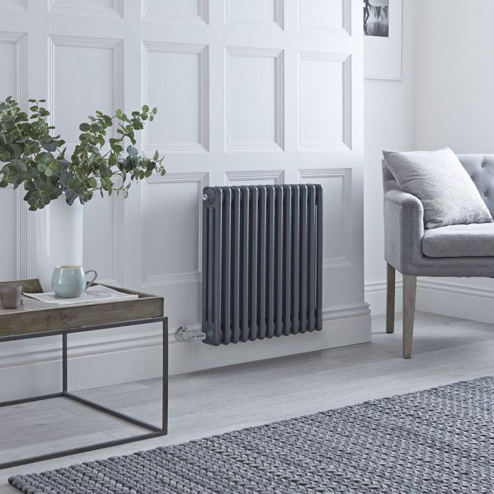 Radiatore di Design Elettrico - Orizzontale a 3 Colonne Tradizionale - Antracite - 600mm x 605mm Disponibile con Diversi Termostati WiFi - Windsor