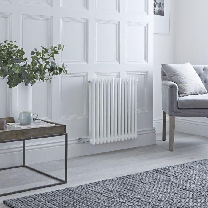 Radiatore di Design Elettrico - Orizzontale a 2 Colonne Tradizionale - Bianco - 600mm x 605mm - Disponibile con Diversi Termostati WiFi - Windsor