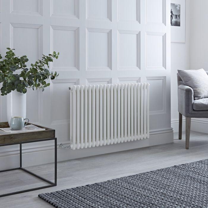 Radiatore di Design Elettrico - Orizzontale a 2 Colonne Tradizionale - Bianco - 600mm x 1010mm - Disponibile con Diversi Termostati WiFi - Windsor
