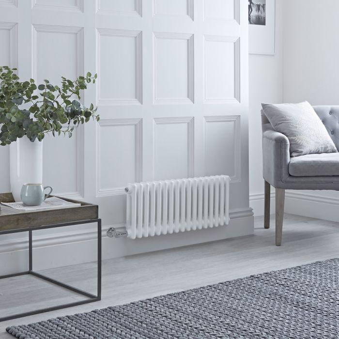 Radiatore di Design Elettrico - Orizzontale a 2 Colonne Tradizionale - Bianco - 300mm x 785mm - Disponibile con Diversi Termostati WiFi – Windsor