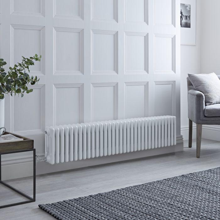 Radiatore di Design Elettrico - Orizzontale a 4 Colonne Tradizionale - Bianco - 300mm x 1505mm - Disponibile con Diversi Termostati WiFi - Windsor