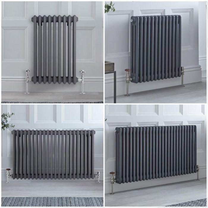 Radiatore Tradizionale Triplo Orizzontale Antracite Windsor 600mm - Disponibile in Diverse Misure e Piedini