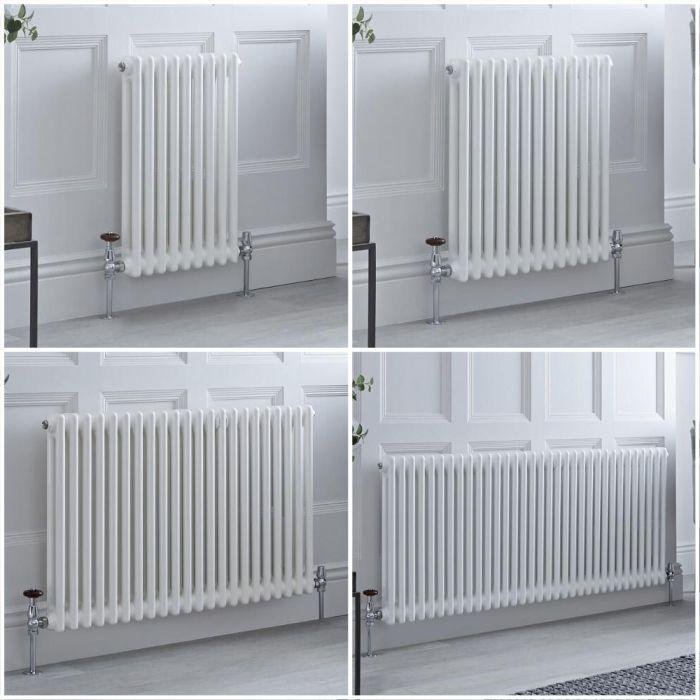 Radiatore Tradizionale Doppio Orizzontale Bianco Windsor - Disponibile in Diverse Misure e Piedini