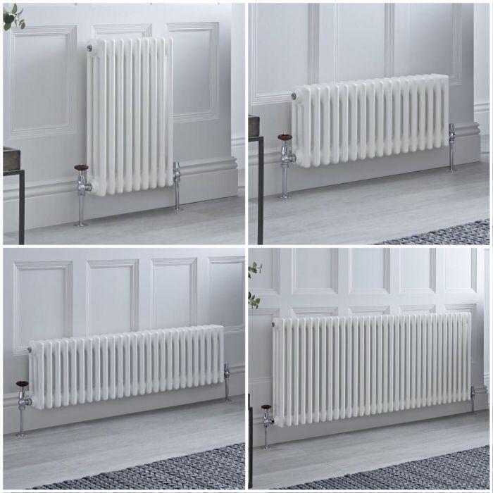 Radiatore Tradizionale Triplo Orizzontale Bianco Windsor - Disponibile in Diverse Misure e Piedini