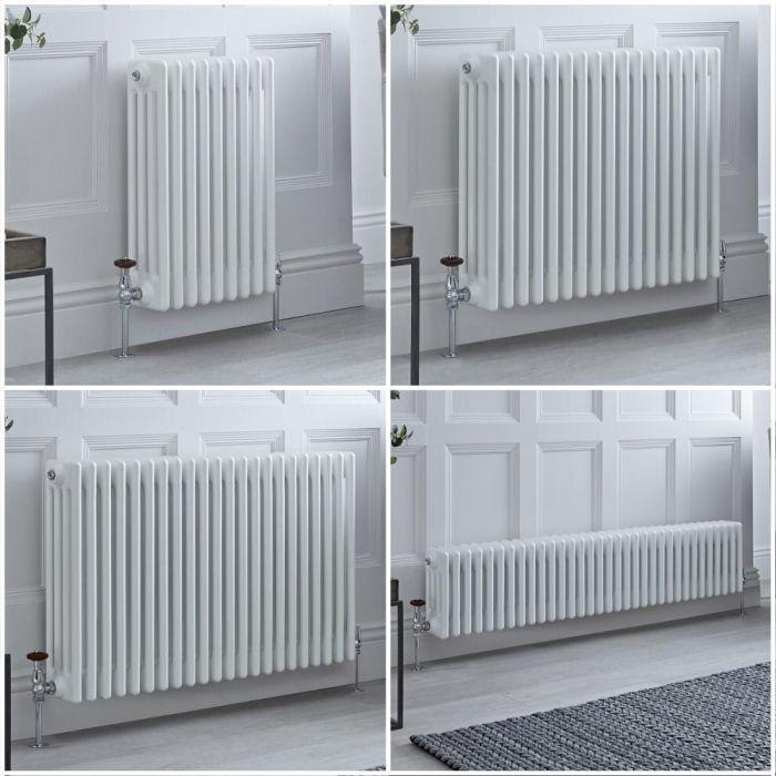 Radiatore Tradizionale a 4 Colonne Orizzontale Bianco Windsor - Disponibile in Diverse Misure e Piedini